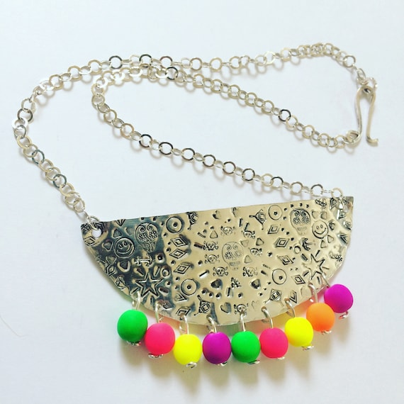 Mexican Tin Inspired Bib Necklace in Sterling Silver with Neon Glass Beads - Boho - Festival - Statement - Folk Art - Dias de los Muertos -