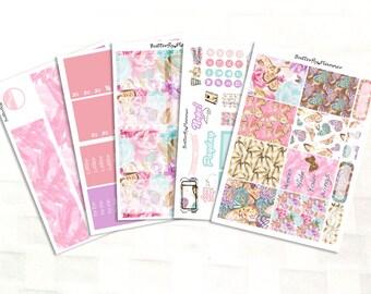 Golden Butterfly, Vinyl Planner Stickers Kit, Erin Condren  Sized