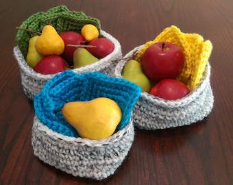 Set of Hand Crocheted Baskets/Marble/Crochet Bowls