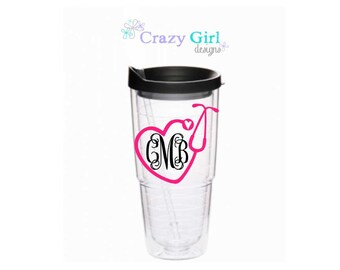 Personalized Nurse Tumbler Tervis Style Tumbler 24 oz Acrylic Cup BPA Free Custom Monogrammed