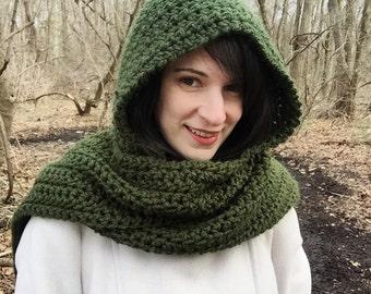 Long green crochet scoodie, hooded crochet scarf, green crochet hooded scarf, crochet long scarf, green scarf with hood, green hooded scarf