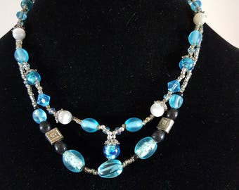 Silver a Turquoise double strand necklace
