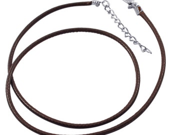 5pc 17 inch Brown Imitation Leather Cord Necklaces-7538M