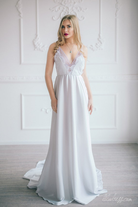 Elegant silk and lace wedding dress Bohemian Boho Beach