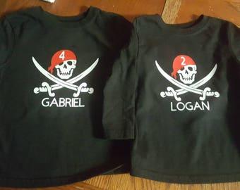 Personalized Pirate birthday toddler shirt, Pirate shirt, birthday shirt, toddler shirt, kid shirt, pirate shirt, pirate party, pirate