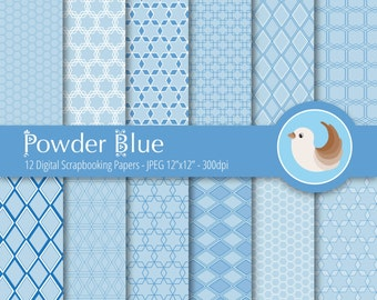 Blue Digital Paper Set - Powder Blue Digital Paper - Pastel Blue Digital Paper - Set of 12 Digital Scrapbooking Papers