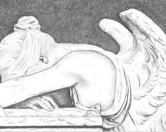 Pointillism Illustration Crying Angel