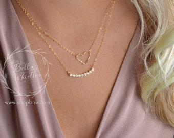 Diamond Heart Necklace, Love Necklace, Diamond necklace, Gold heart necklace, Rose Gold necklace, gift for mom, gift for her