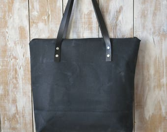 Black Waxed Canvas Bag,Black Canvas Tote,Zippered Canvas Tote,Leather Strap Tote,Water Resist Tote,Black Canvas Tote Bag,Everday Tote Bag