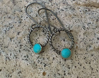 Turquoise & Sterling Drop Earrings, Turquoise Dangle Earrings, Sterling Silver Earrings, Turquoise Drop Earrings, Genuine Turquoise, Hoops