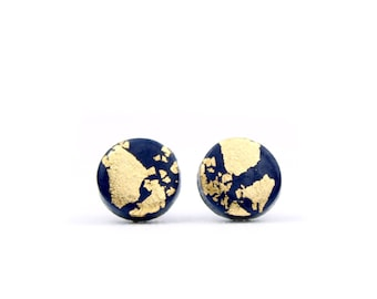 Gold and Navy Studs, Navy and Gold Earrings, Gold Leaf Earrings, Navy and Gold Flake Studs, Navy Accessories, Navy Studs, Gold Earrings