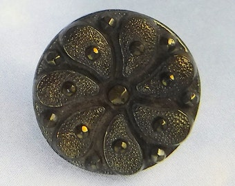 Vintage Glass Button 5/8 Bronze Olive Black Floral Ornate Vintage Button 412