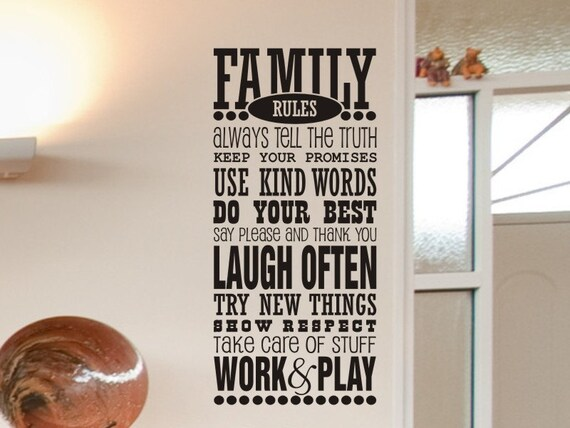 Family Rules Wall Decal Family Decal Living Room Wall Decor