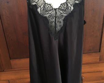 Size 26/28 Cacique Black Nightgown / Slip Dress / Plus Size