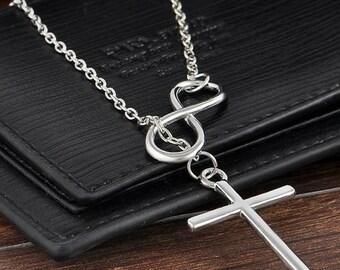 Silver Infinity Cross Necklace/Infinity Cross Y Necklace/Simple Daily Wear Cross,Necklace Gift for Best Friend Sister Mom. BEST PRICE!