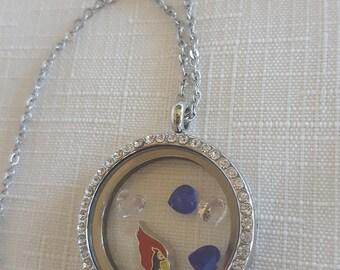 Trendy Cardinals Crystals Locket Necklace