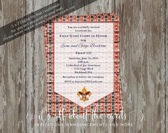 Eagle Scout Court of Honor Invitation-Stars & Stripes design-Digital File