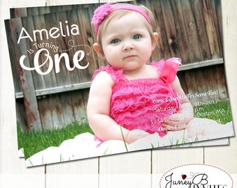 First Birthday Invitation, Number Birthday Invite, Full Picture Birthday Invite