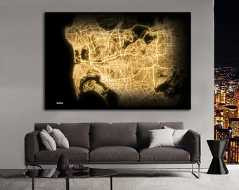 San diego gold map Etsy