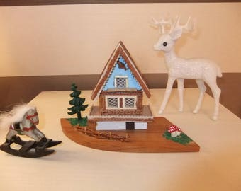 Vintage Wooden 1960,s Swiss Chalet and Reindeer Christmas decorations