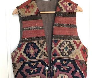 Vintage Multi Color Native American Geometric Pattern Vest From Santa Fe