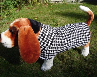 Dog Coat - Black and White Houndstooth Corduroy Plaid Coat- Size Medium- 16 to 18 Inch Back Length - Or Custom Size