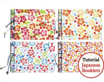 PDF Tutorial Japanese Bookbinding. Printable Coverpapers included. Four booklets with different Japanese Bindings.