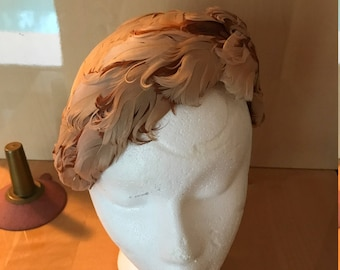 Beautiful Vintage Feather Cap Hat