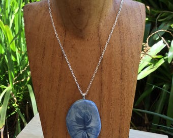 BFN1 Blue Feather porcelain necklace