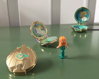 PEACHish Polly Pocket mermaid Hinged locket pin with 4 sides of enamel detail! Also available with a necklace loop. Polly pocket mermaid