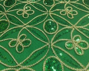 Green Seamless Diamond with Sequin Embroidery Scalloped Edge on 54''