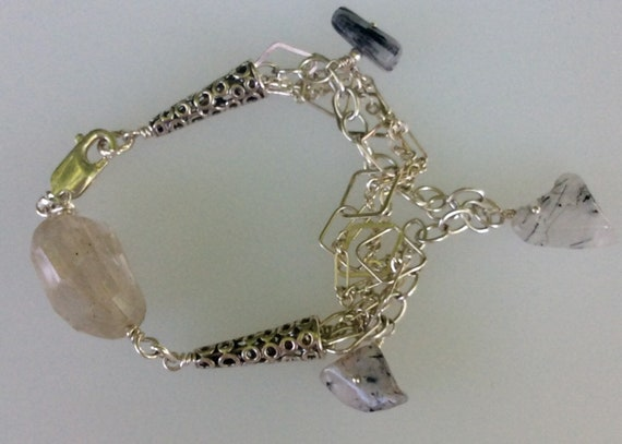 Sterling .925 chain bracelet with rutilated quartz.