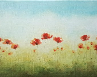 Red Poppies, Acrylic Painting, Small Painting on Canvas, Original Fine Art Painting, Poppies Field in the Sun, Nature Art, Home Decor