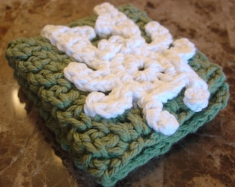 Sage Green Crocheted Dish Cloth with White Crab Applique (Wash Cloth)