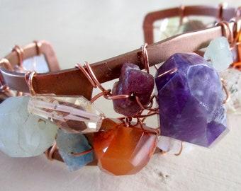 Amethyst Aquamarine Ruby WONDER WOMAN Goddess Gemstone Bracelet - Watermelon Tourmaline - vintage copper - Cuff - Etsy Jewelry - catROCKS