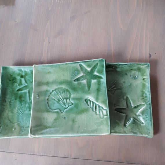 Pottery Handmade  Plate set of three or Spoon Rest in Sea Green sea shell patterns under 30
