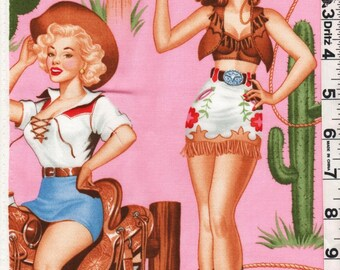 Fabric Henry Back in the Saddle  Retro 50s Western Cowgirls Pinups on pink