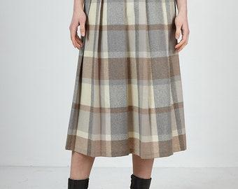 Vintage Beige Brown MIRANELLA Checkered Midi Skirt/ Size 36
