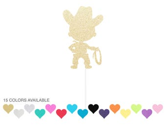 Cowboy Cake Topper ANY Color Glitter