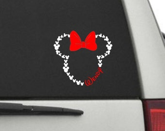 Car Decal - Minnie Head with Name