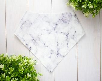 White Marble Print Dog Bandana