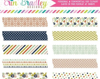 80% OFF SALE Colorful Fall Clipart Graphics Digital Tape Clip Art with Polka Dots Flowers Stripes and Chevron Patterns Instant Download
