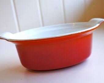 Flame Orange Red Descoware Enamel Pot Julia Child's Favorite Mid Century Enamel Pot