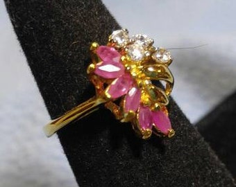 SALE! Gorgeous Gold Ring with a Spray of Pink Stones and Faux Diamonds   Size 5 (was 20)