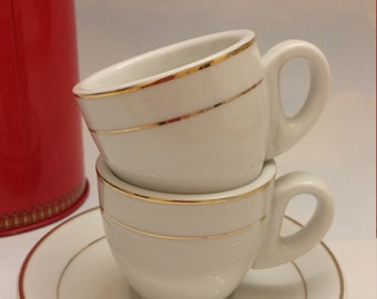 Free Shipping*, Rare Casa Elite Espresso Cups and Saucers, Home Collection, white and gold, Expresso Cups and Saucers, Demitasse