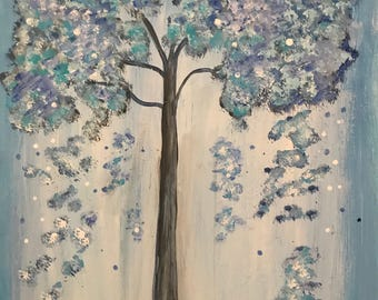 Original art Wall painting, wall decor , wall art , spring wall decor , Tree of life landscape painting ,canvas art, blue painting