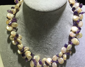 Coin shape pearls with purple amethyst necklace