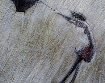 Storm.    2009     Original Oil  painting print on  Rolled Canvas Fine Art Print Painting Rain Umbrellas