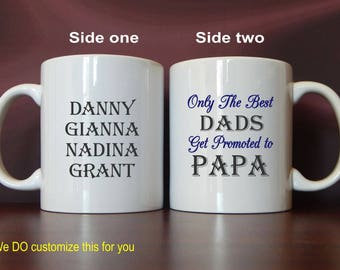 Grandpa Gift - Gifts for Grandpa - Only The Best Dads Get Promoted to Papa -Father's Day Gift Personalized, MDA010