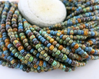 6/0 Old Caribbean Picasso Seed Bead Mix, Full Strand 200 Beads, Czech Glass Seed Beads